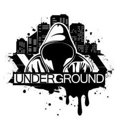 Urban style man in hoodie behind vector