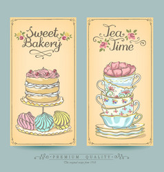 Vintage posters pastries and tea vector