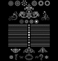 white round ornaments border and border on black vector image