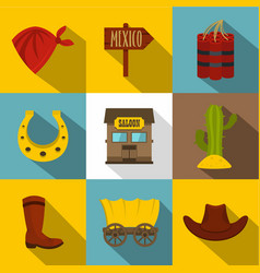Wild west things icons set flat style vector