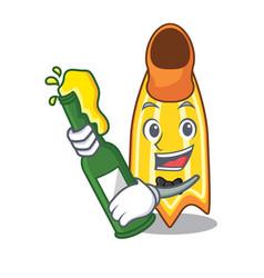With beer swim fin mascot cartoon vector
