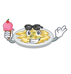 with ice cream scrambled egg in the character pan vector image