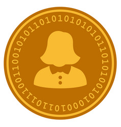Woman digital coin vector