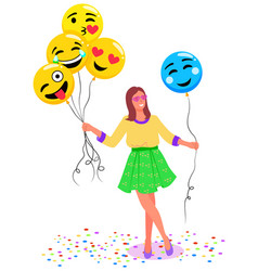 woman with balloons in form emoji photozone vector image