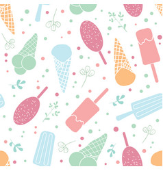 Yum ice cream and sprinkles seamless pattern vector