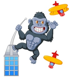Cartoon angry king kong vector