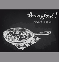 fried eggs with broccoli on the pan chalkboard vector image