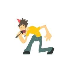 Guy With Spiky Hair Singing In Karaoke vector image