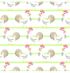 hen cartoon seamless pattern vector image vector image