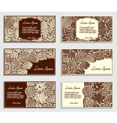 Set of invitation cards with different tree leaves vector image