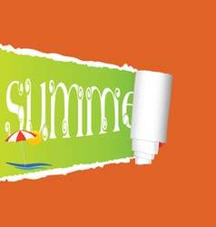 tearing paper with sign of summer vector image vector image