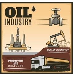 Vintage oil industry poster vector