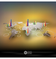 World map in perspective blurred infographic vector image vector image