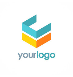 3d shape cube logo vector image vector image