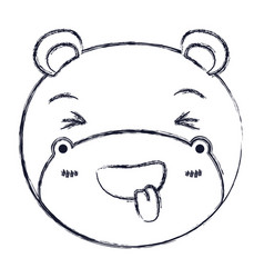 Blurred silhouette cute face of hippo sticking out vector