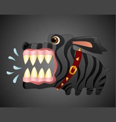 very angry black dog cartoon character vector image