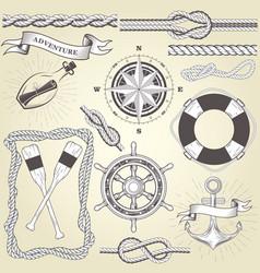 vintage seafaring elements - steering wheel oars vector image vector image