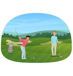 a person making a shot playing the golf while his vector image vector image