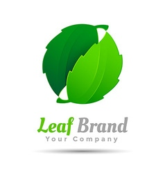 Abstract sphere green leaf logo design Template vector image