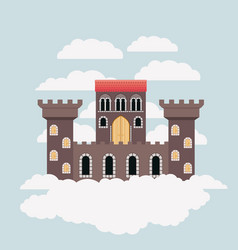 brown castle of fairy tales in sky surrounded by vector image