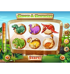 Game template with dinosaur characters vector image