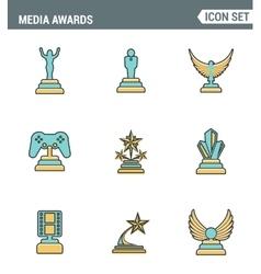 Icons line set premium quality of media awards vector image