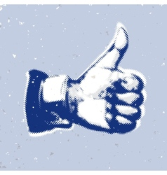 LikeThumbs Up symbol on a blue background vector image vector image