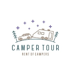 Vehicle with trailer camper in the woods at night vector image
