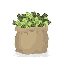 Bag money large burlap sack with cash dollars in vector