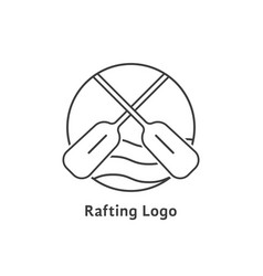 black thin line rafting logo vector image vector image