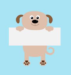 funny dog hanging on paper board templatebig eyes vector image vector image