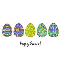 happy easter egg sketch collection in green vector image vector image