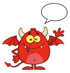 smiling red devil cartoon character waving vector image vector image