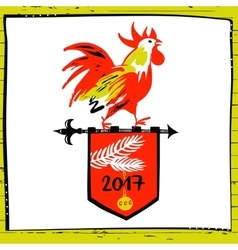 2017 chinese new year of the red rooster vector