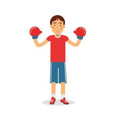 Active boy teen boxer in boxing gloves cartoon vector