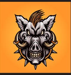 Angry boar head vector