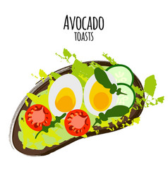 avocado toasts with tomatoes vector image