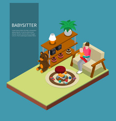 Babysitter isometric composition vector