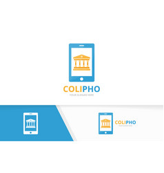 Bank and phone logo combination column and vector