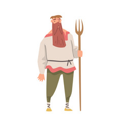 Bearded medieval male peasant standing with fork vector