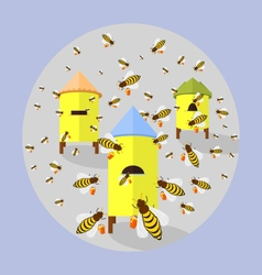 bees and hives vector image
