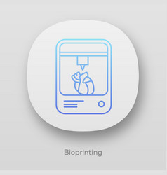 Bioprinting app icon artificial heart 3d printing vector