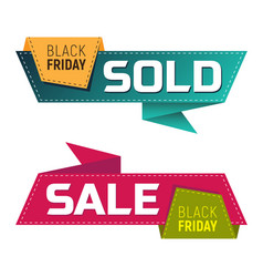 black friday sold and sale banners or labels vector image