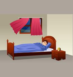 Boy sleeping in his bedroom vector