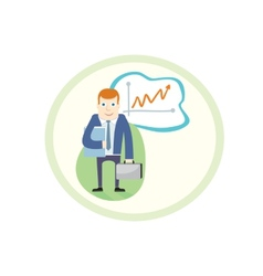 Business man standing pointing at chart vector
