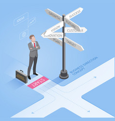 Businessman standing at a crossroad vector