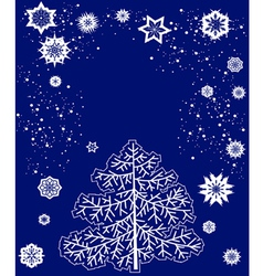 card with Christmas tree and snowflakes vector image