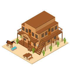 Cartoon building saloon on a background isometric vector