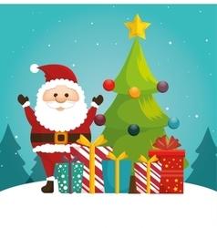 cheerful santa tree ball and gift blue bakcground vector image