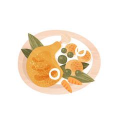 Chicken leg potatoes green peas and carrot in vector